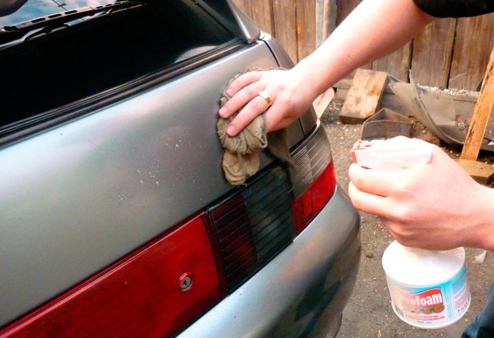 Распылить средство на кузов
