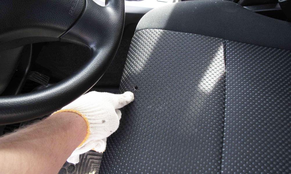 Восстановление прожогов обивки салона в автомобиле
