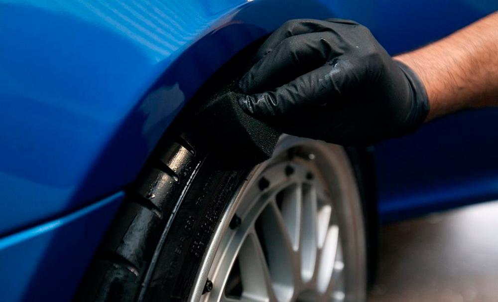 Чернение резины колеса