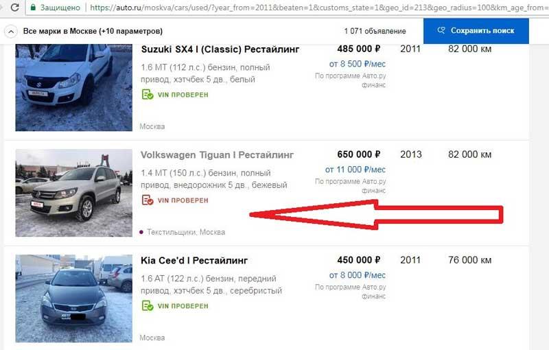 Объявления в интернете о продаже авто