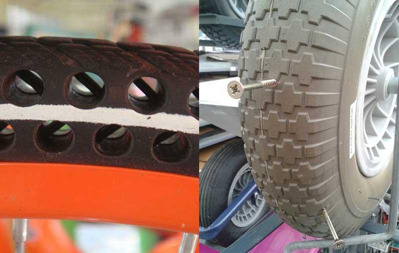 Попытка прокола безвоздушной шины