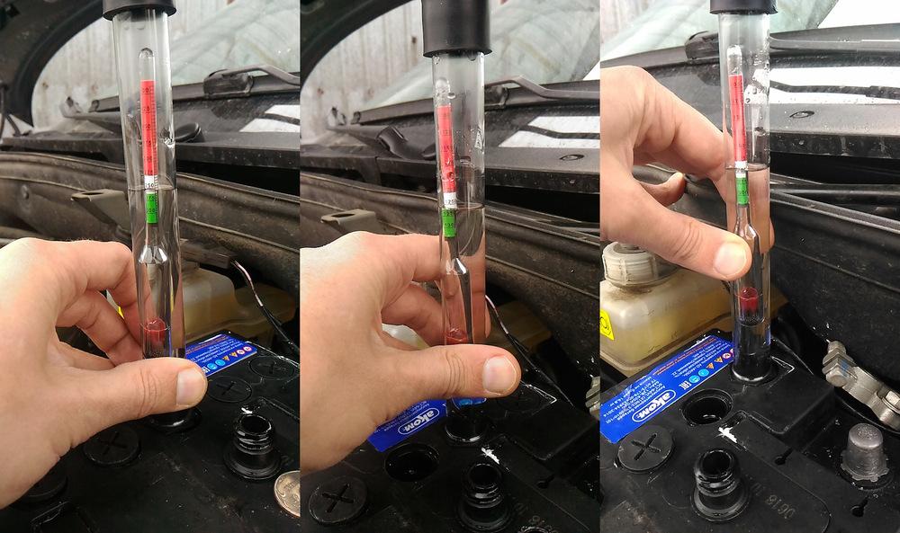 Измерение плотности раствора в авто