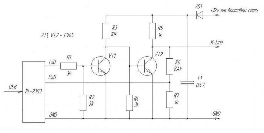 схема такого K-Line адаптера